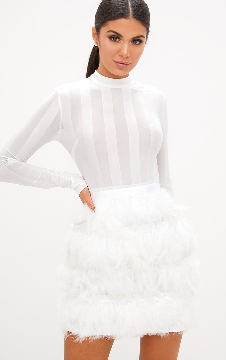 Fawn White Feather Skirt Bodycon Dress 1