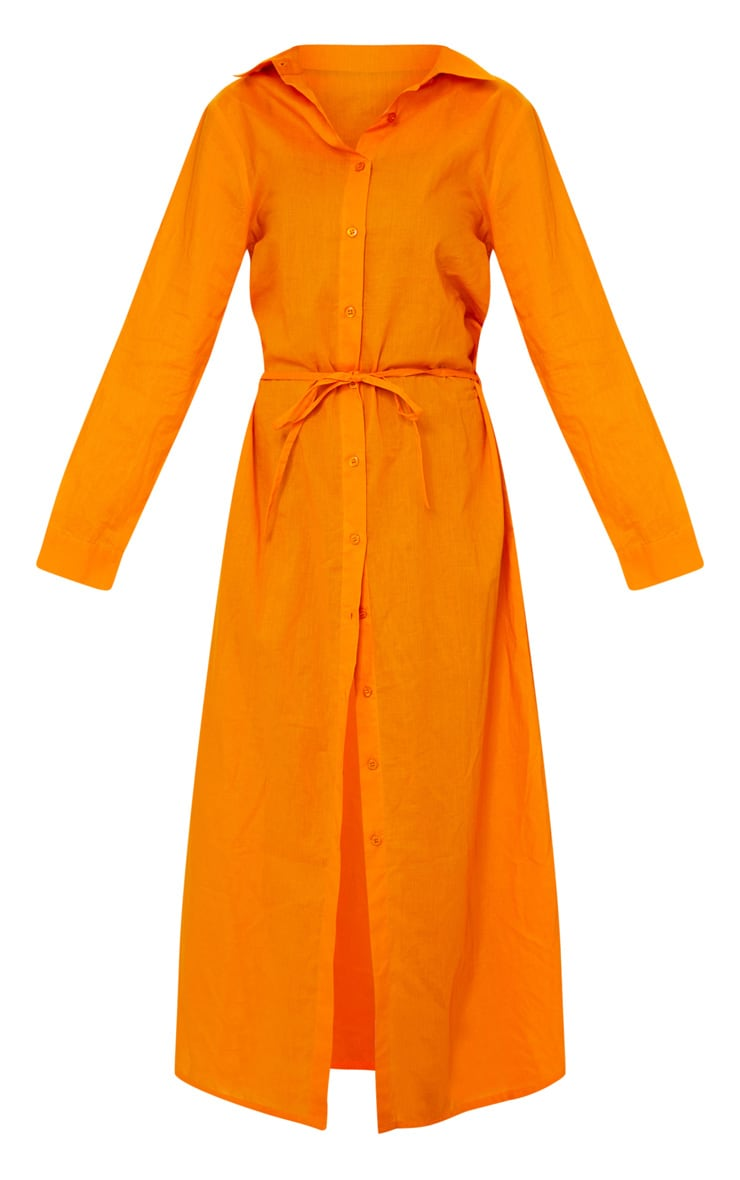 Robe de plage longue en coton orange  5