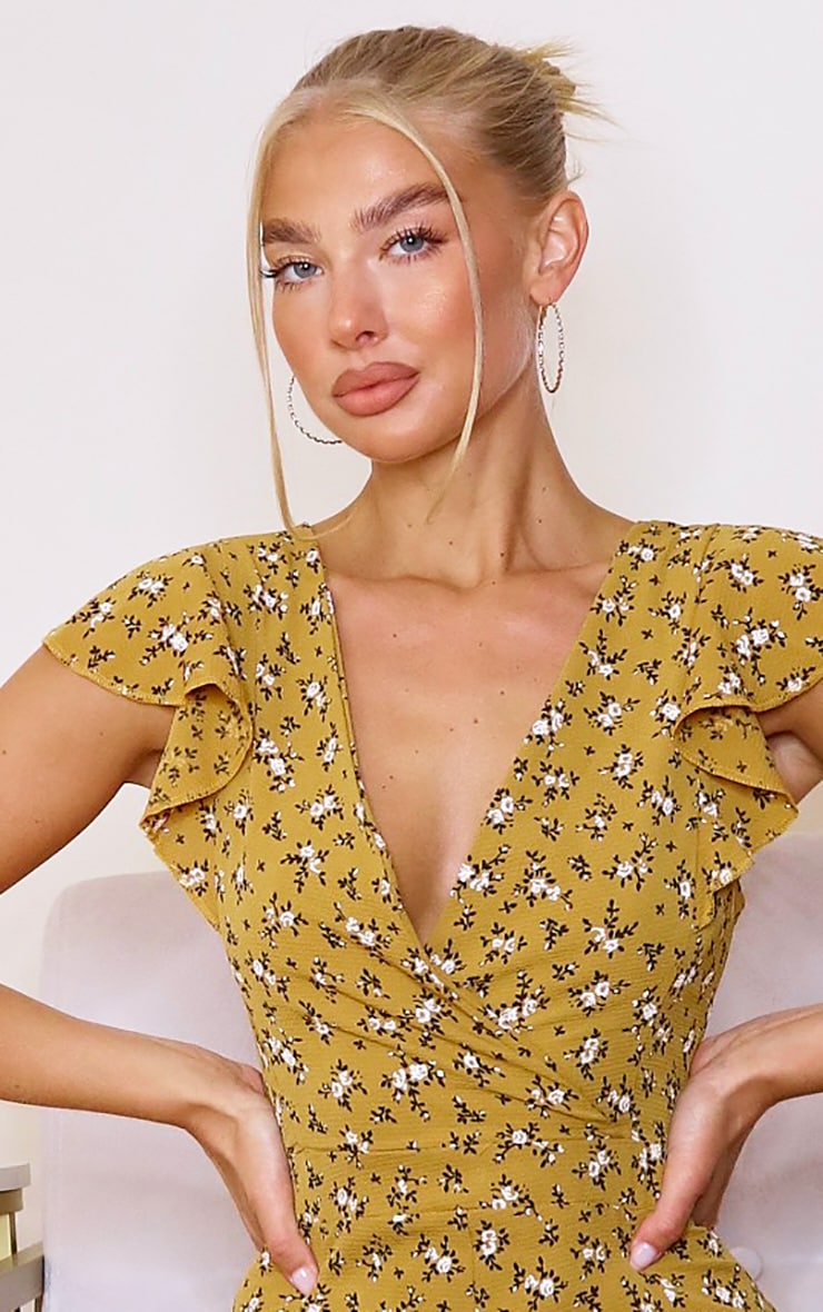 Mustard Ditsy Print Wrap Tie Back Jumpsuit 4