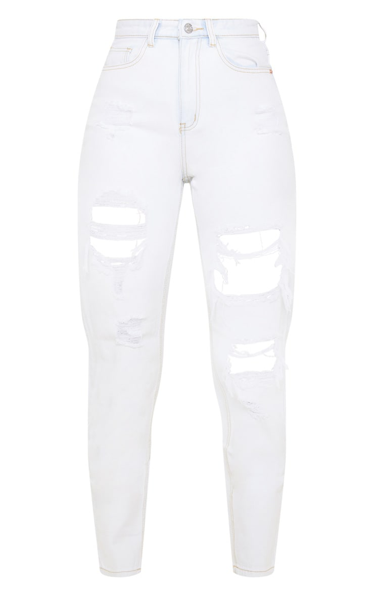 PRETTYLITTLETHING Bleach Wash Distressed Mom Jean 3