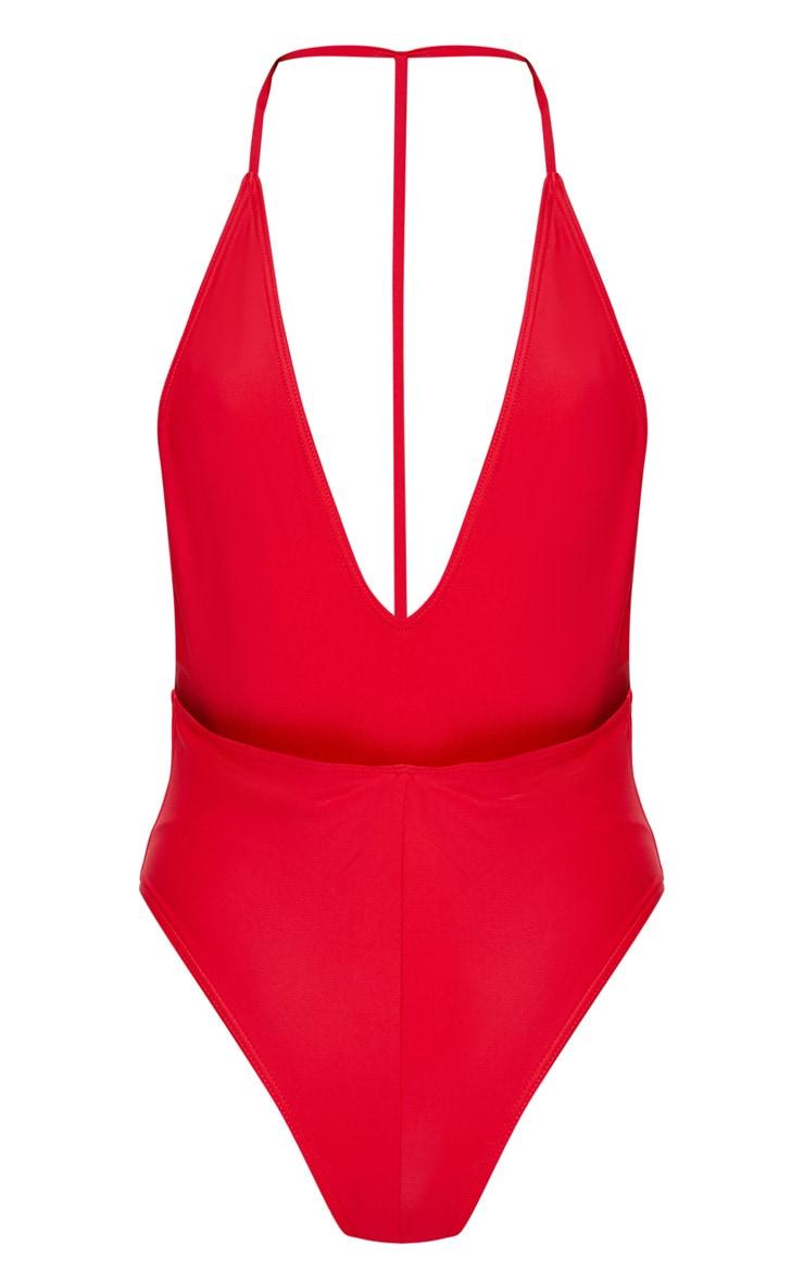 Cindi maillot de bain plongeant dos en T rouge 4