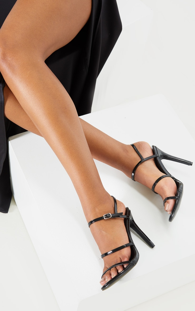 Black Wide Fit Triple Strap Slingback Barely There Sandal 1