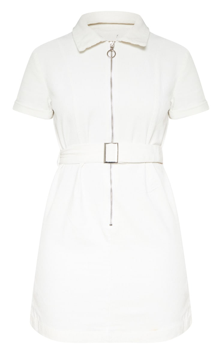 Cream Cord Zip Front Belted Dress 3