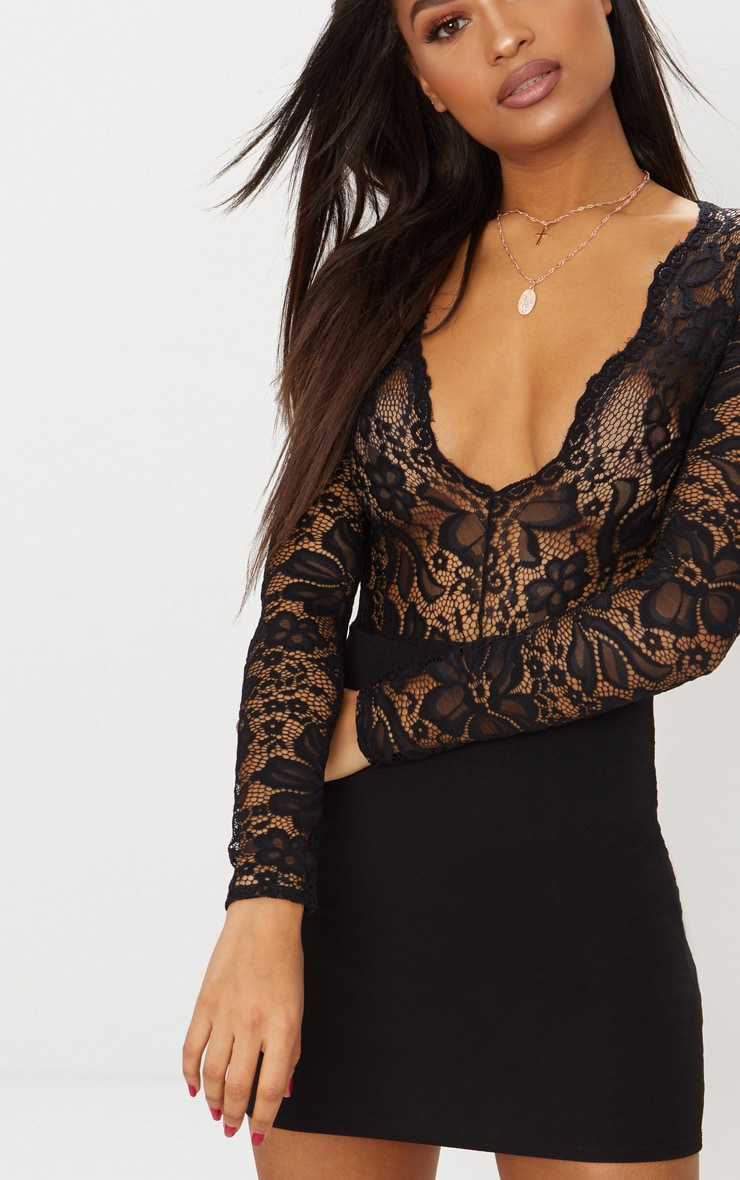 Black Lace Top Long Sleeve Bodycon Dress 5