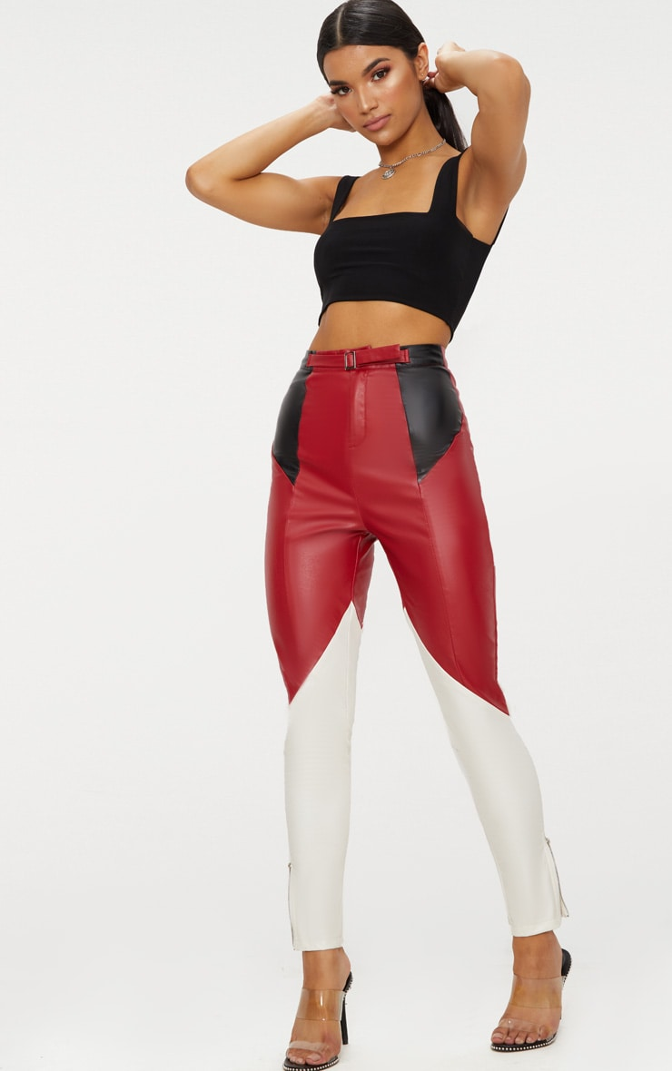 Maroon Faux Leather Belted Motocross Trousers 1