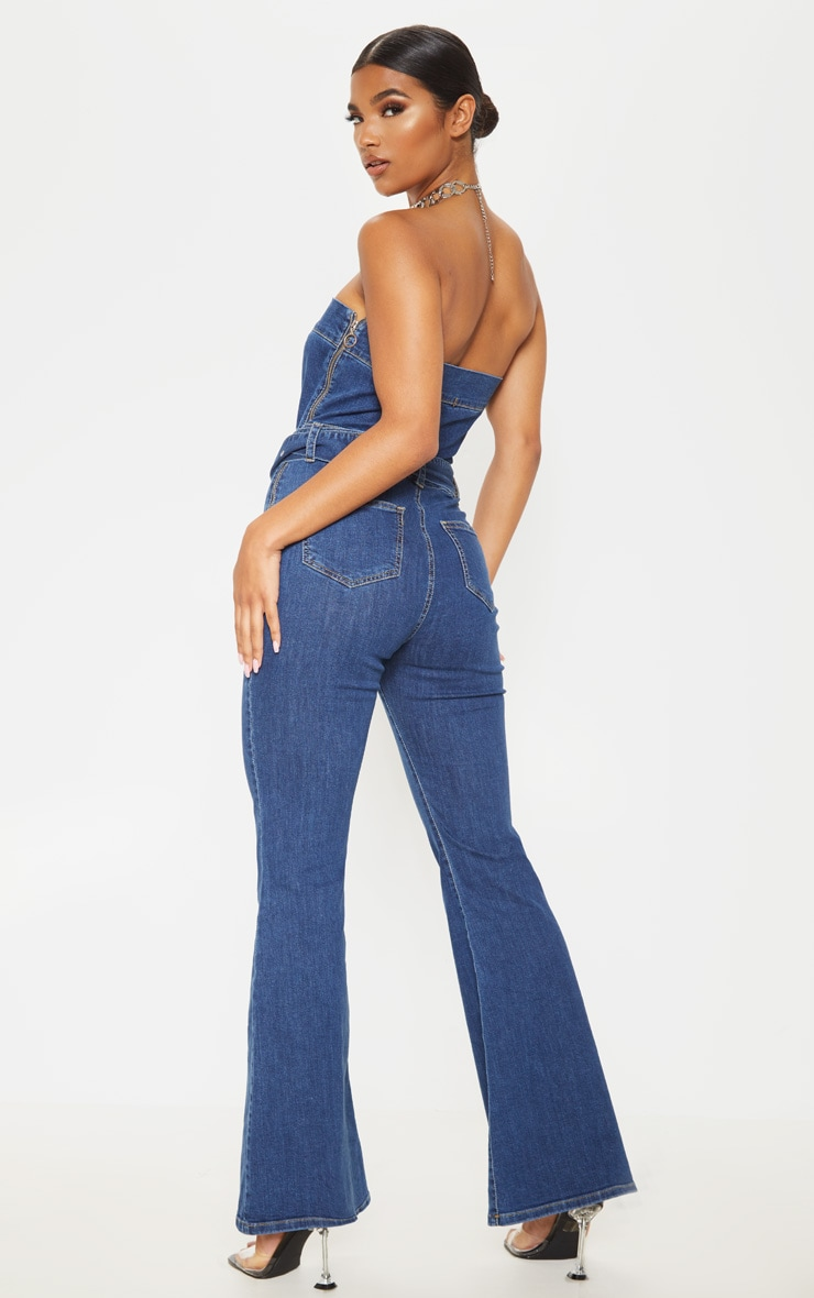Mid Wash Belted Flared Bodycon Jumpsuit  2