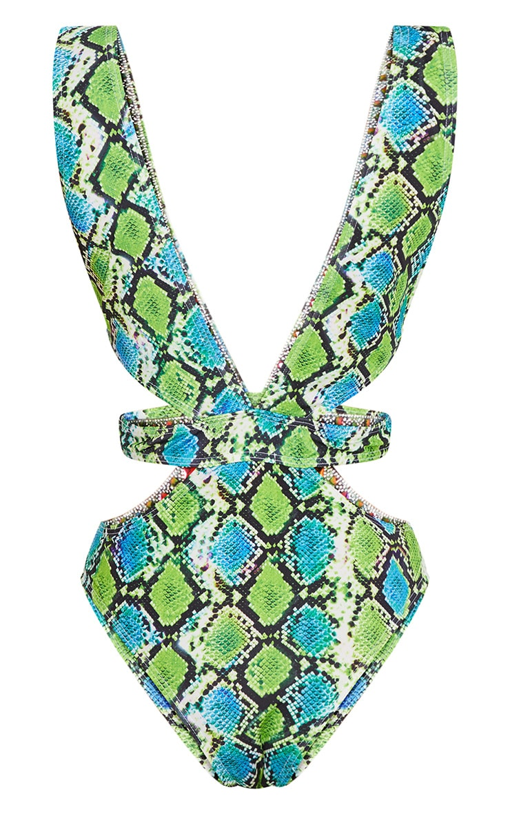 Premium Green Snake Cut Out Jewelled Pool Party Costume 5