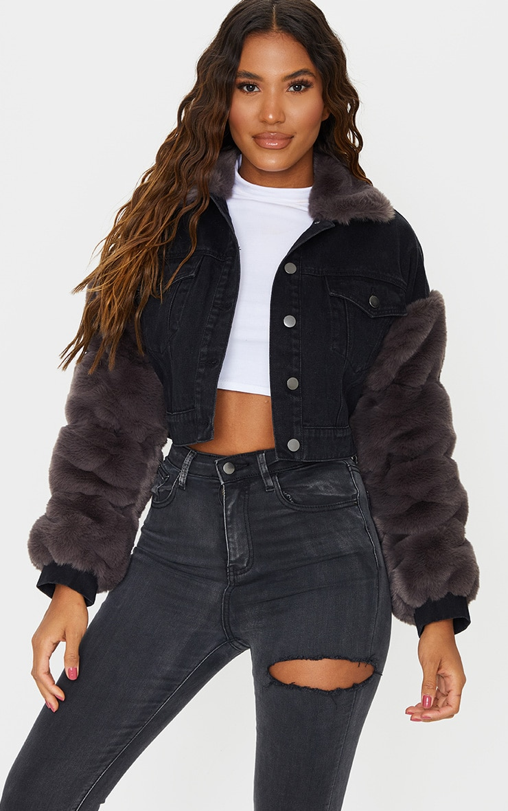Washed Acid Black Fur Sleeved Denim Jacket 1