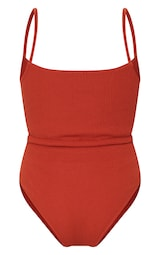 Brown Tie Waist Crinkle Swimsuit 6