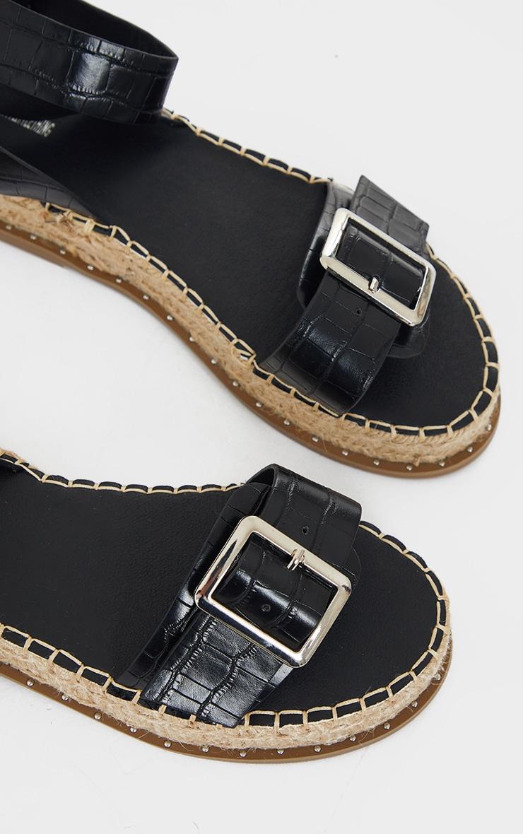 Black PU Croc Buckle Detail Espadrille Sandals 3