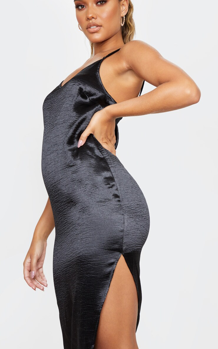 Black Hammered Satin Slip Midaxi Dress 4