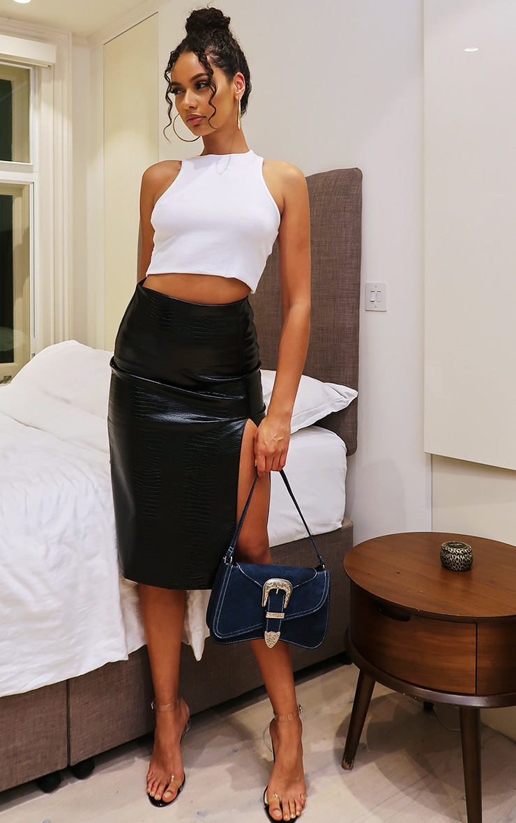 Black Faux Leather Croc Midi Skirt 4