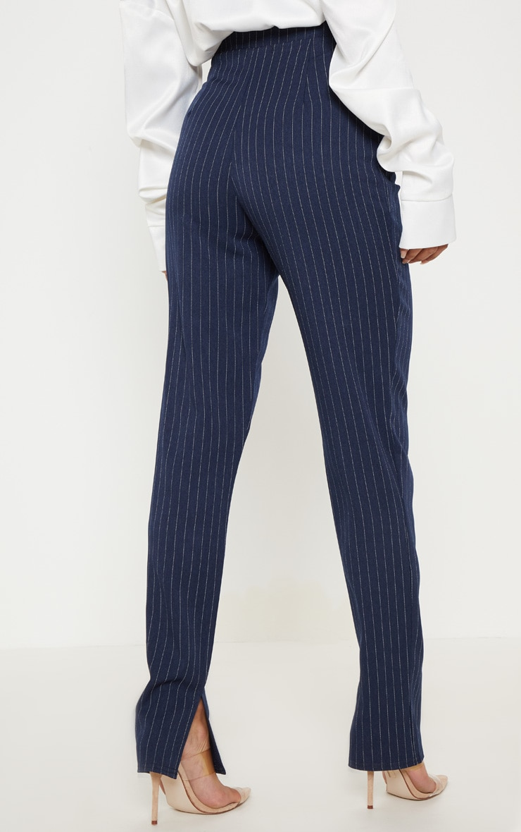 Navy Pinstripe Split Hem Pants 4