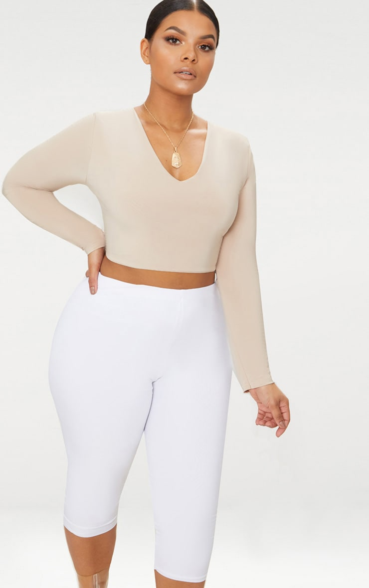 Plus Stone Second Skin Long Sleeve V Neck Crop Top 1