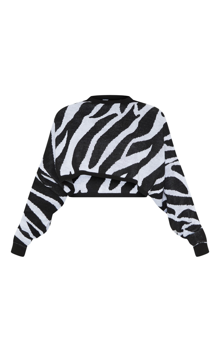 Tall White Zebra Print Crop Sweater  3