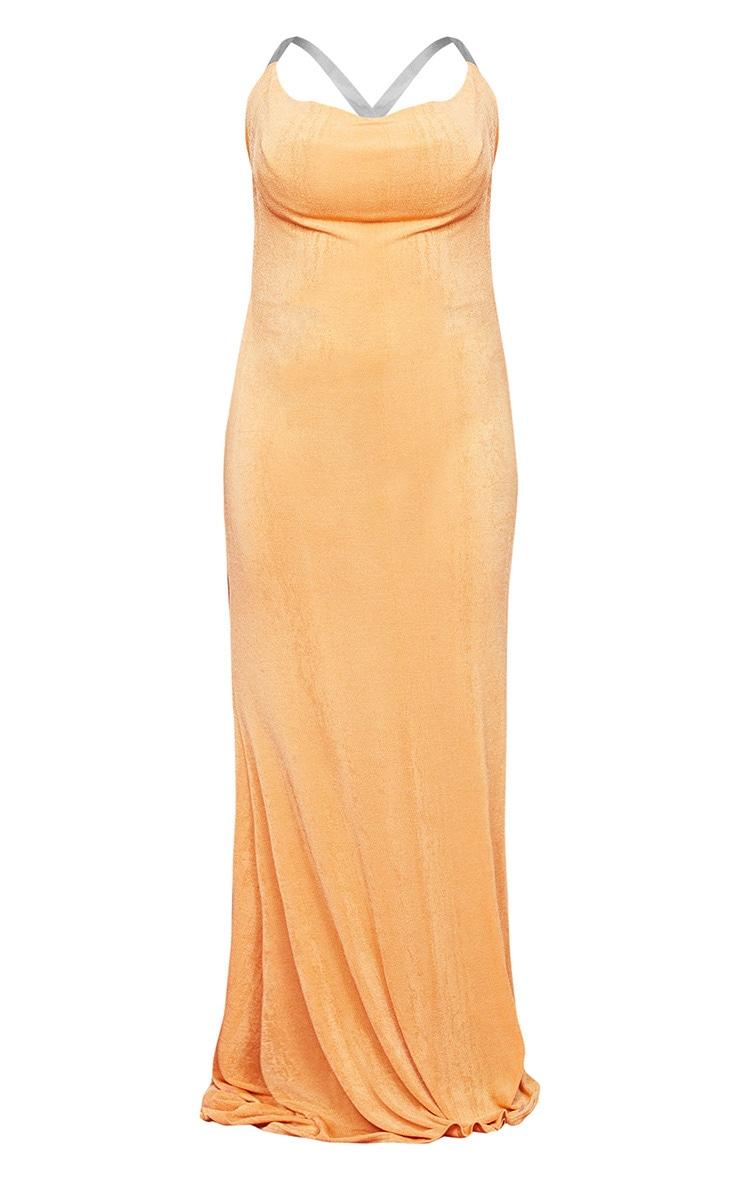 PLT Plus - Robe longue texturée mandarine à col bénitier et bretelles transparentes 5