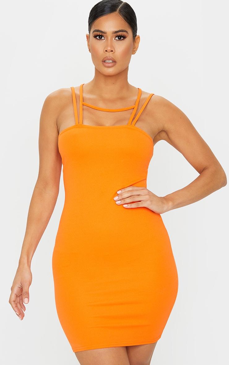 Bright Orange Multi Strap Detail Square Neck Bodycon Dress 1