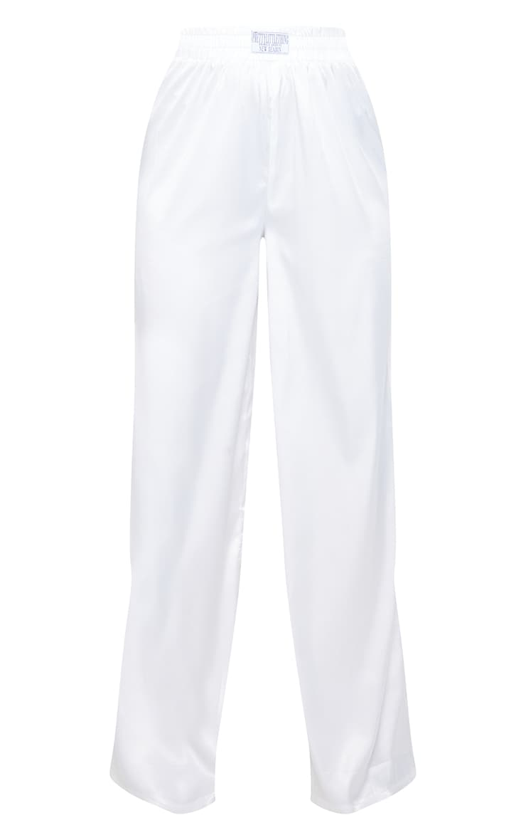 PRETTYLITTLETHING White Badge Satin Wide Leg Trousers 5