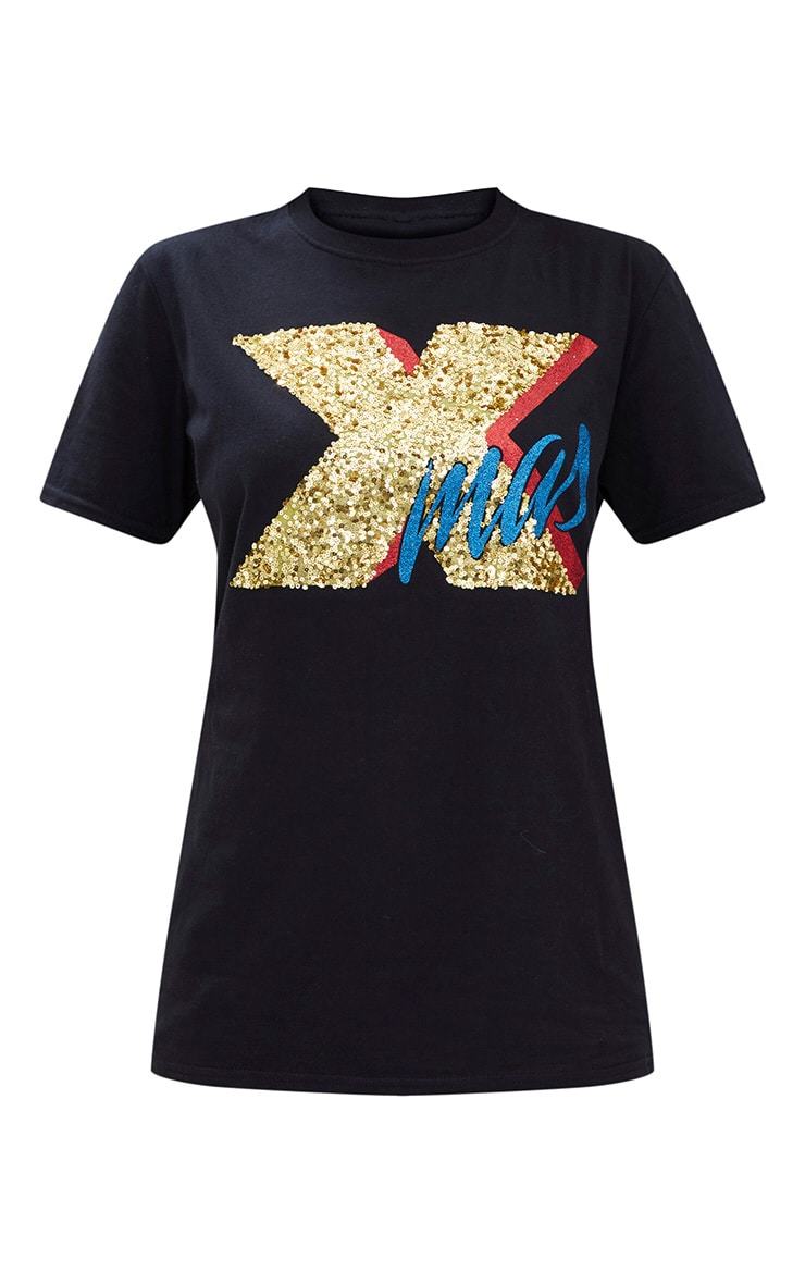 Black XMAS Sequin Glitter Slogan T Shirt 3
