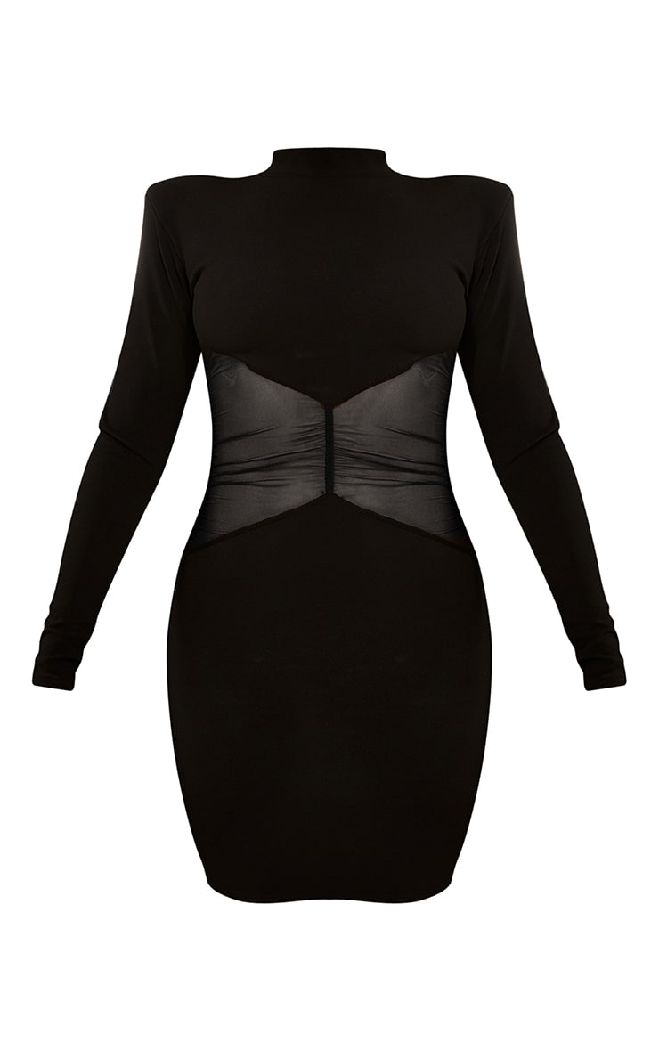Black Ruched Mesh Panel High Neck Bodycon Dress 5