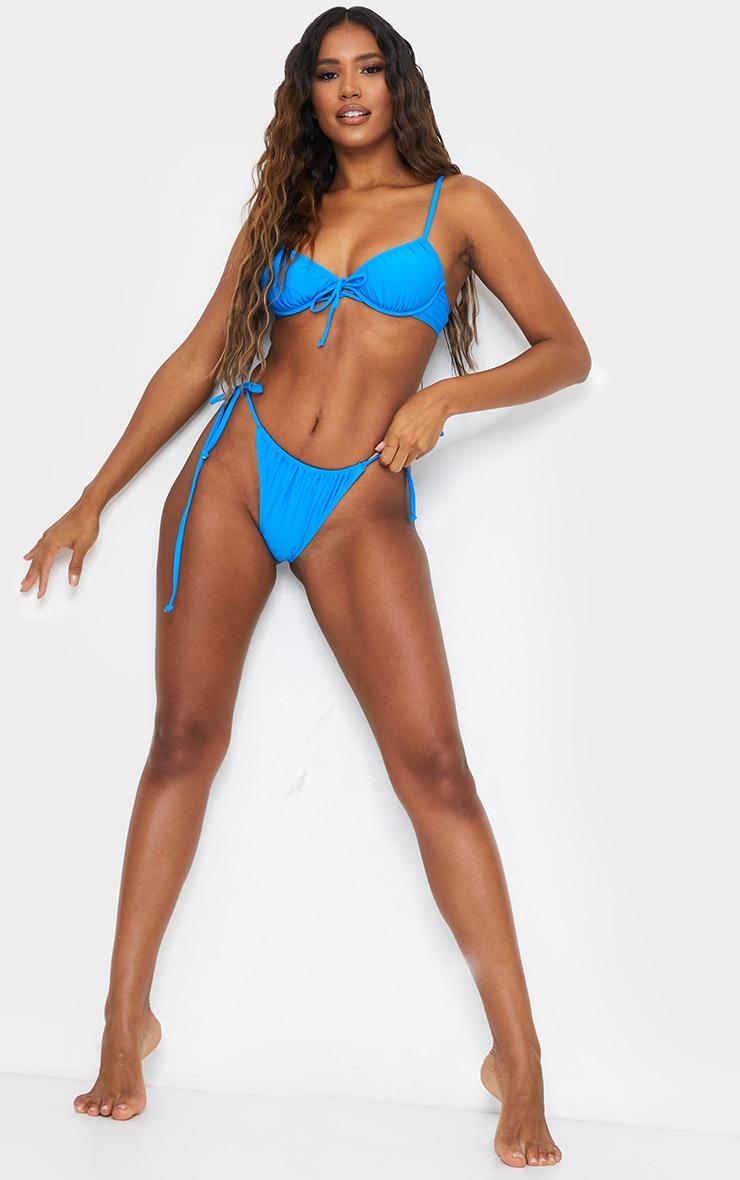 Blue Ruched Underwired Bikini Top 3