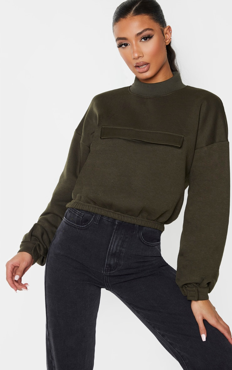 Khaki Funnel Neck Pocket Front Sweater 1