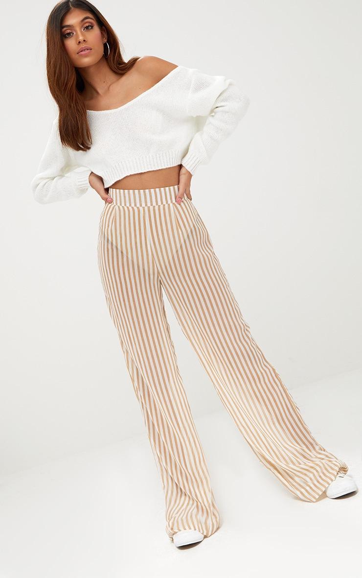 Stone Sheer Stripe Wide Leg Trousers 1