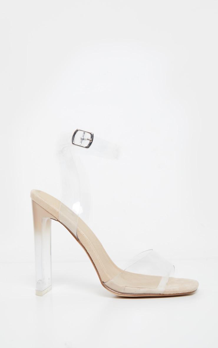 Sandales carrées nude à talons 3