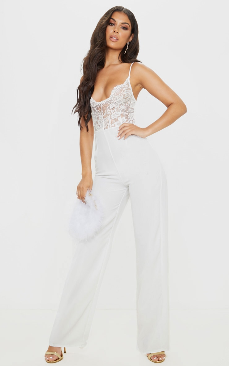 White Lace Wide Leg Jumpsuit 1