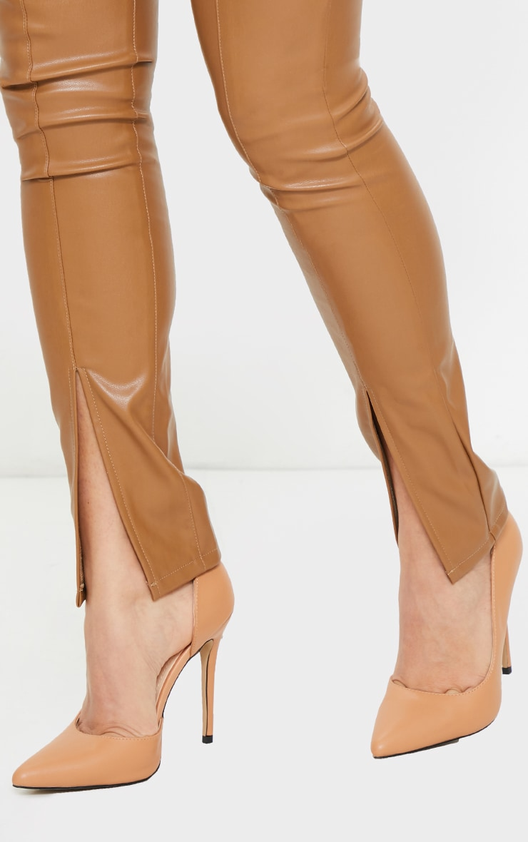 Tan Point Toe Cut Out Side Stiletto Court Shoes 2