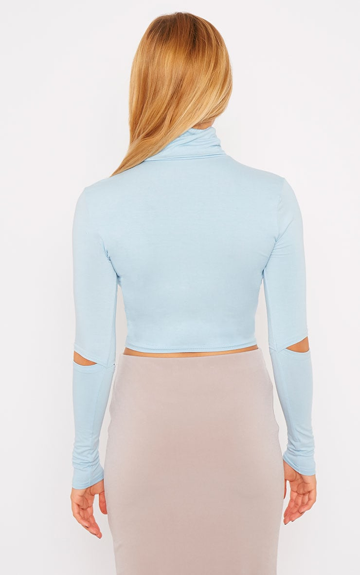 Clara Powder Blue Split Sleeve Roll Neck Crop Top 2