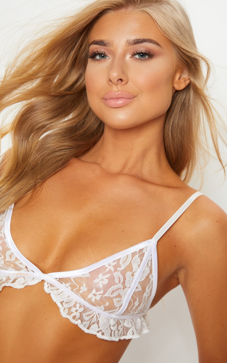 White Binding Lace Frill Bra 5