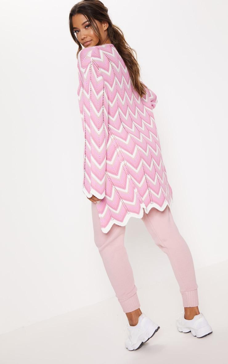 Pink Zig Zag Midi Cardigan 2