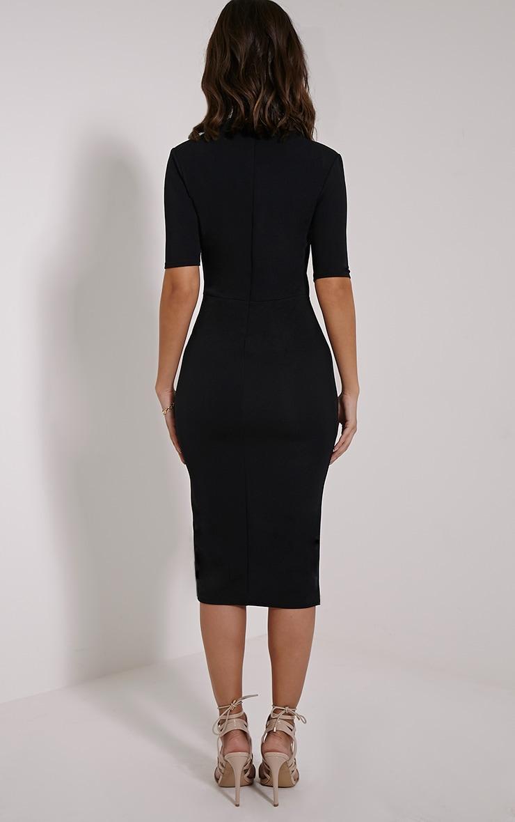Sana Black Crepe Split Front Midi Dress 2