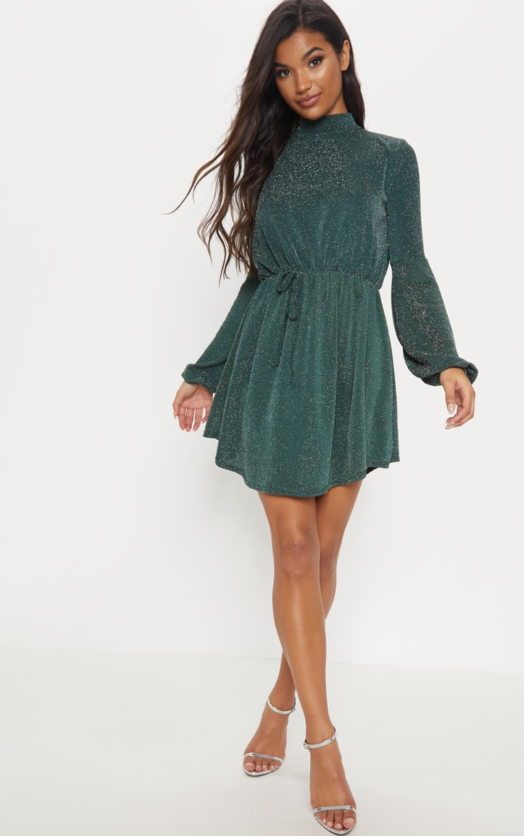 Green Glitter Balloon Sleeve Tie Waist Skater Dress 4
