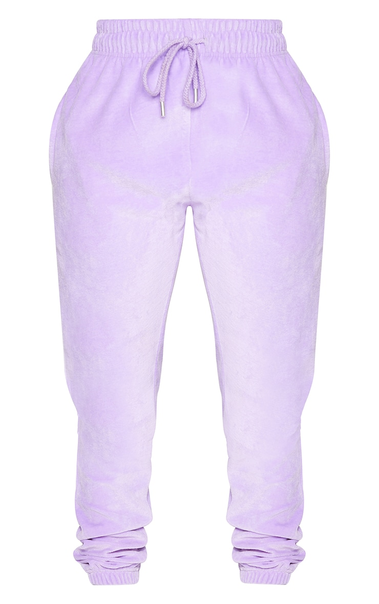 PRETTYLITTLETHING Shape Lilac Velour Skinny Joggers 5