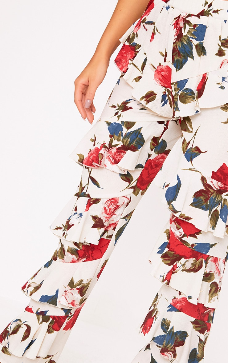 Cream Tiered Frill Floral Trousers 5