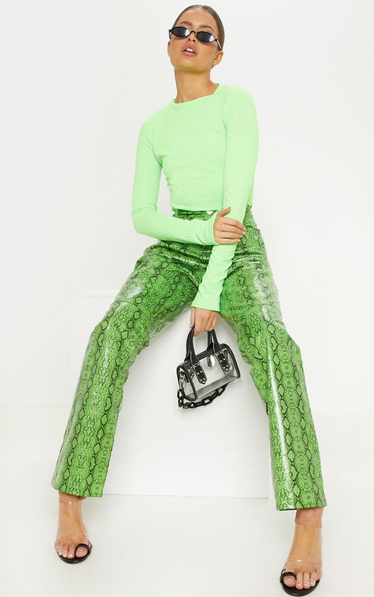 Neon Lime Rib Crew Neck Long Sleeve Top 4