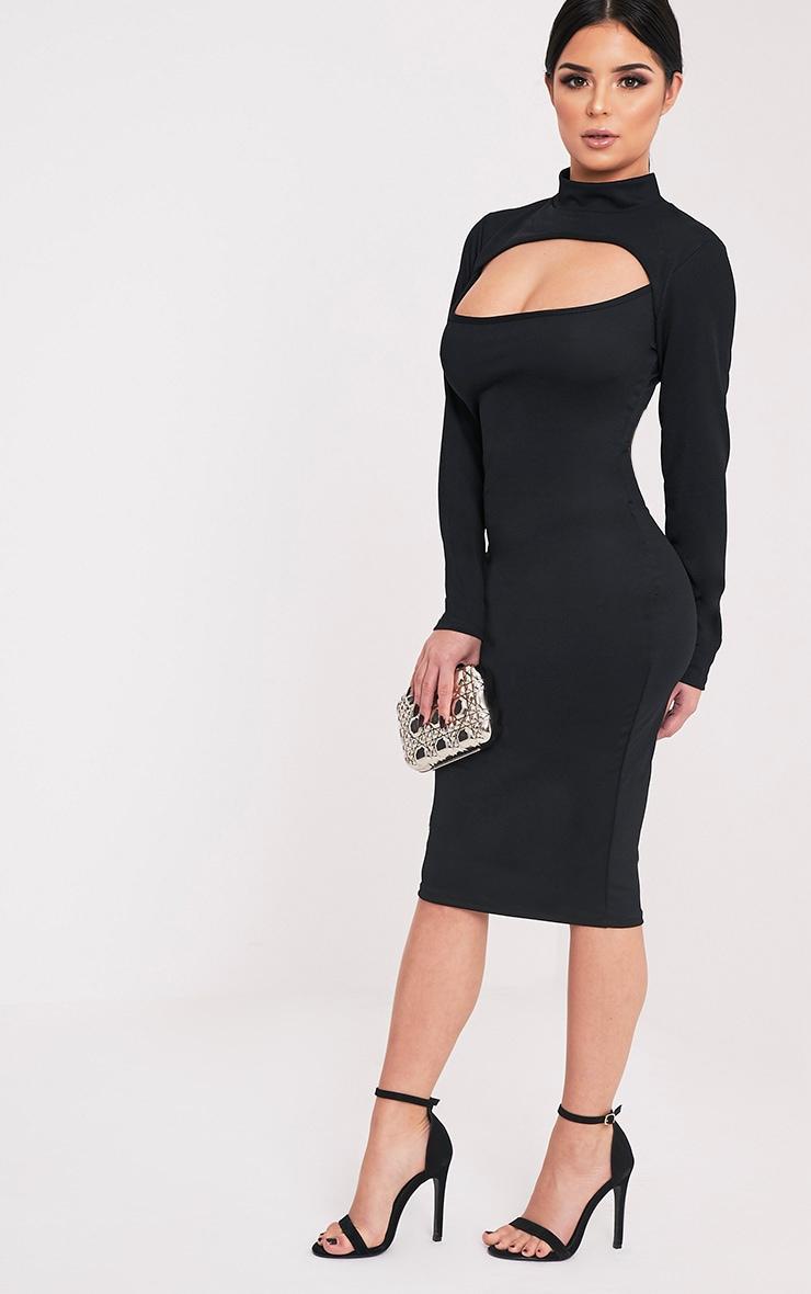 Shape Kayleene Black Open Front Crepe Midi Dress 4