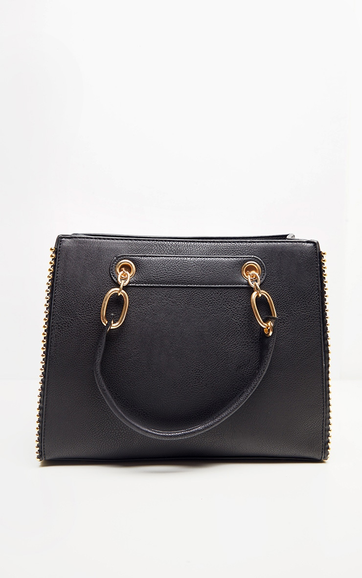 Black PU Bobble Chain Detail Tote Bag 2