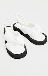 White Padded Knot Slingback Square Toe Flatform Sandals 3