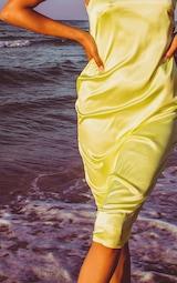 Lime Asymmetric Satin Midi Dress 5