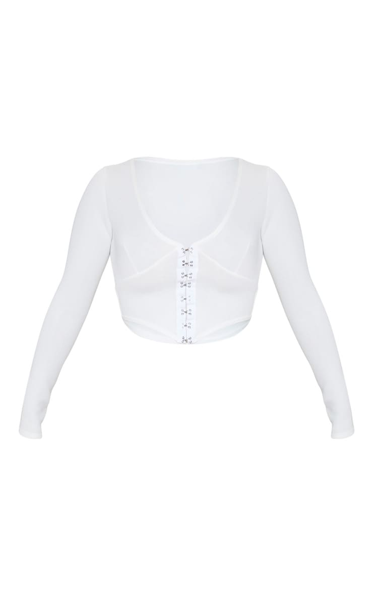 White Scuba Hook And Eye Pointed Hem Crop Top 3