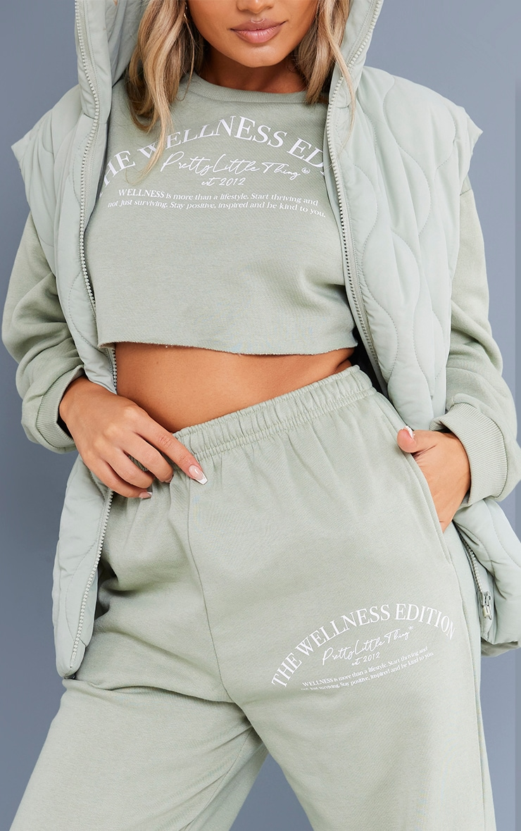 Recycled Petite Sage Green Wellness Crop Sweat and Jogger Set 4