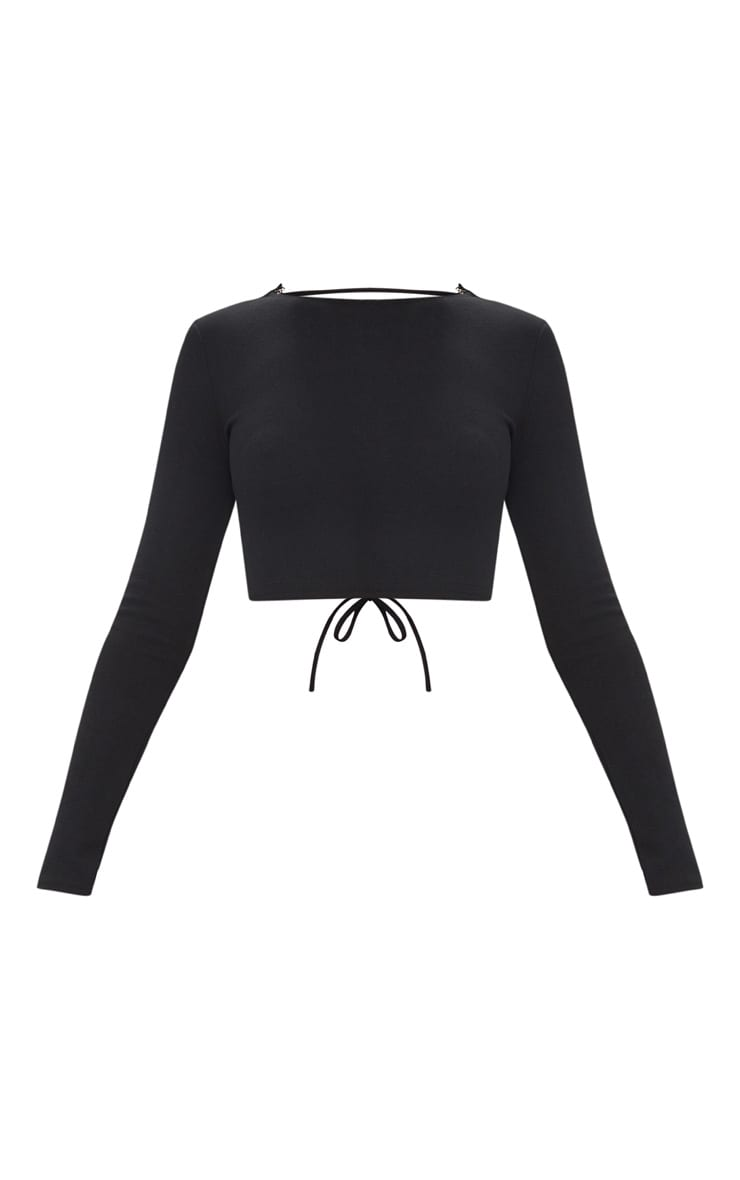 Black Lace Up Back Long Sleeve Crop Top 3