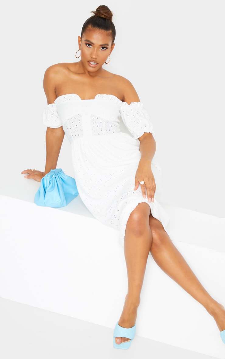White Broderie Anglaise Cup Detail Bardot Midi Dress 1