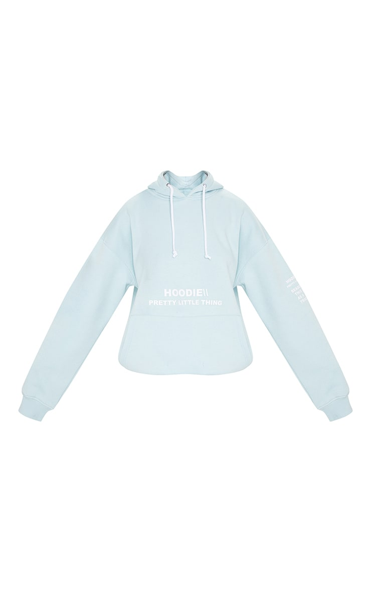 PRETTYLITTLETHING Light Blue Haze Oversized Slogan Print Pocket Front Hoodie 5