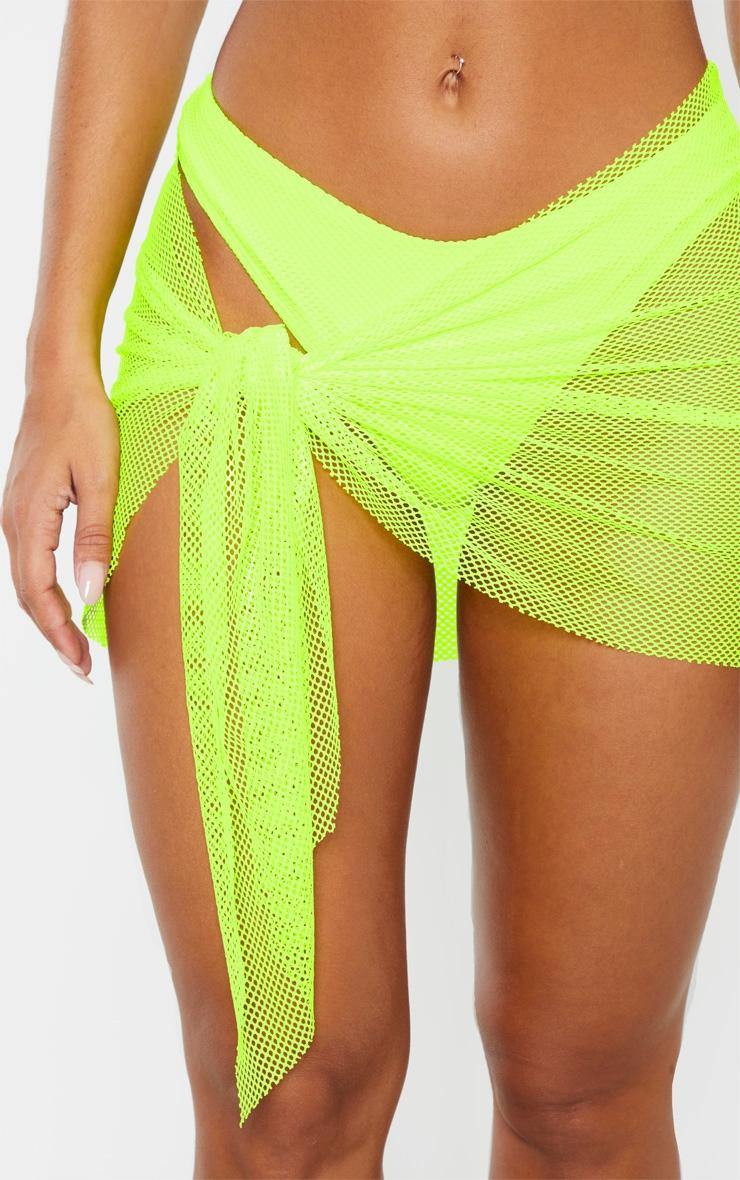 Neon Yellow Net Textured Sarong 6