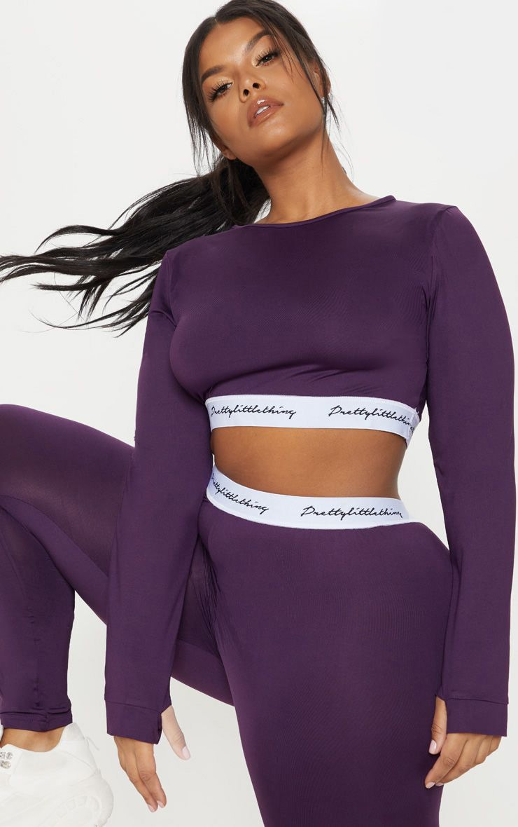 PRETTYLITTLETHING Plus Aubergine  Band Long Sleeve Crop Top 1