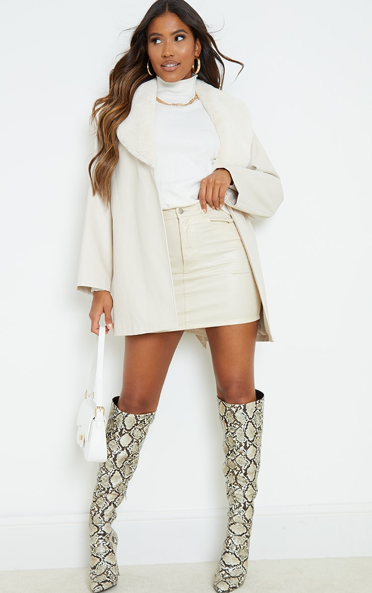 Cream PU Contrast Faux Fur Belted Short Jacket 3